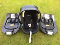 Cybex Aton Baby Car Seat and 2 x Cybex Q Fix Bases RRP £340