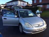 Honda Civic 2001 1.6 FDSH Long Mot 2 keys £525 Ono