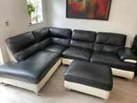 Stunning L-shape leather sofa with foot stool