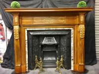 Antique Victorian Pine & Gesso Fireplace Surround