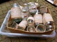 Wedding Decorations glass jars hessian