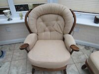 Joynson and Holland suite newly upholstered. Two chairs and one two seater settee.