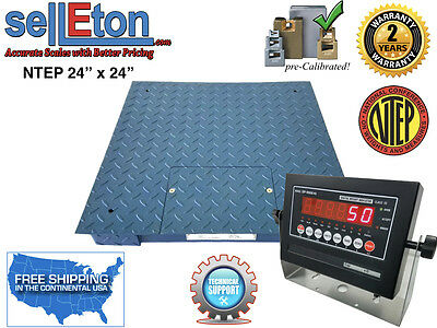 "NTEP (Legal) Industrial warehouse 24"" x 24"" 2' x 2' Floor scale 2000 x .5 lb"