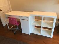 Ikea desk, chair and shelving unit