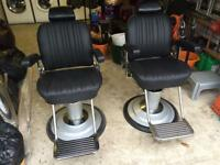 Two Belmont Sportsman barbers chairs