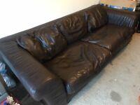 Large chocolate leather sofa - super comfy