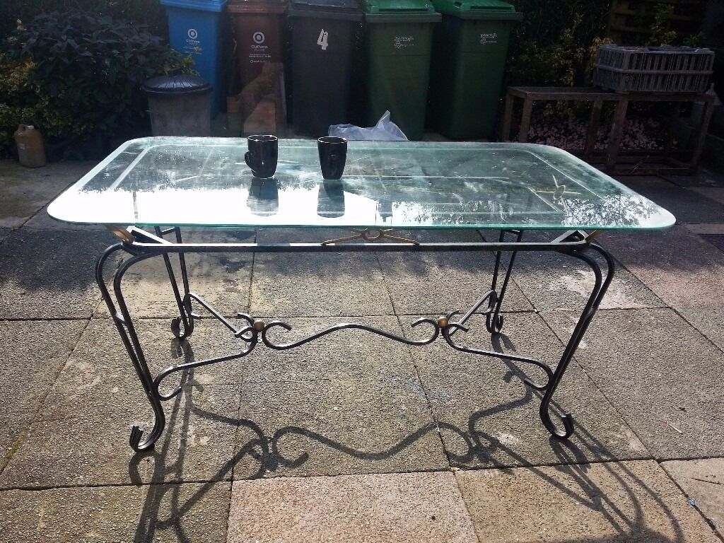 Vintage Retro Glass Top Garden Patio Dining Table With Metal Iron Frame 60 X