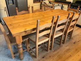 8 seater Solid Oak dining table set