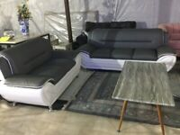3 and 2 seater pu sofa set black grey and grey/white