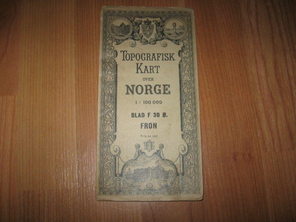 o kart norge 1920s Antique Map   TOPOGRAFISK KART OVER NORGE BLAD F 30 O. FRON  o kart norge