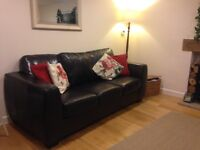 Like NEW top quality brown leather sofa bed for sale