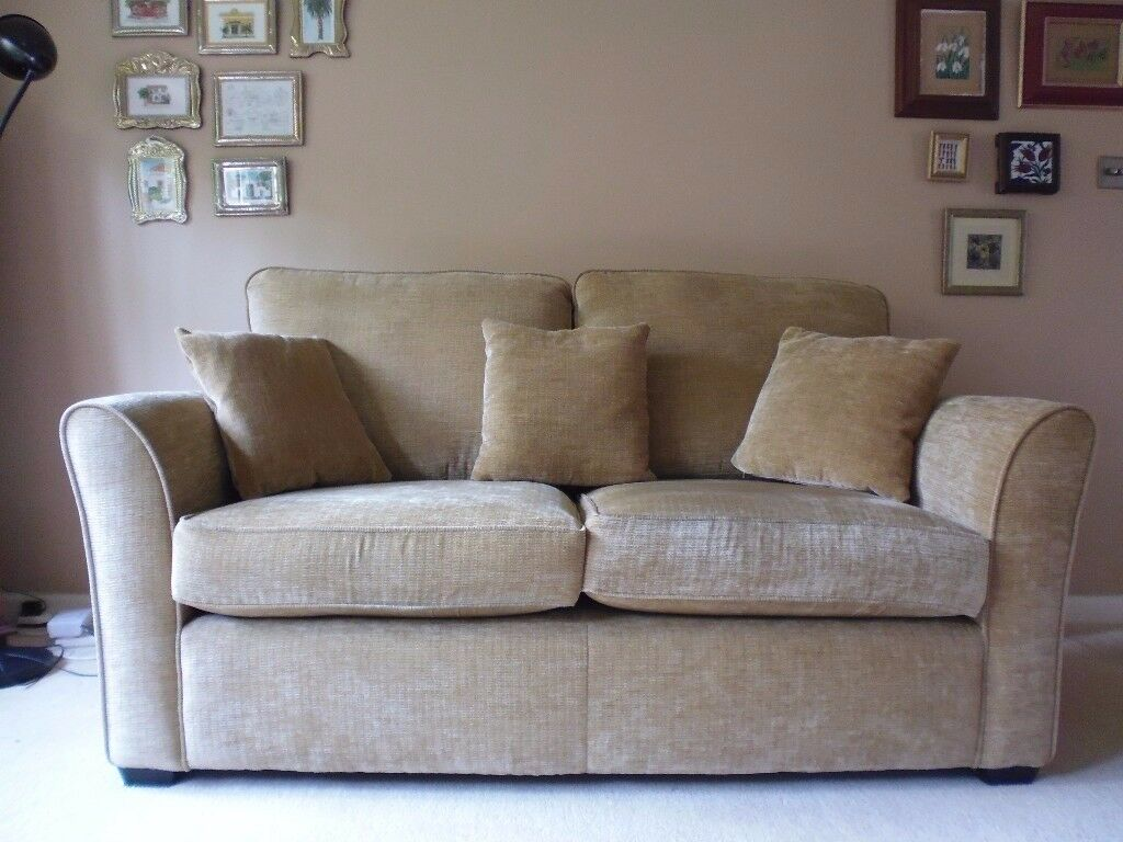 Padstow 2 Seater Sofa Gold Chenille 3 Cushions Excellent Condition