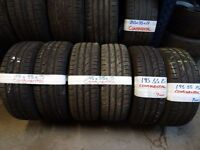matching set 195 55 15 contisport tyres all 7mm tread £40 pair supp & fittd(LOADS MORE AV 7-DAYS)