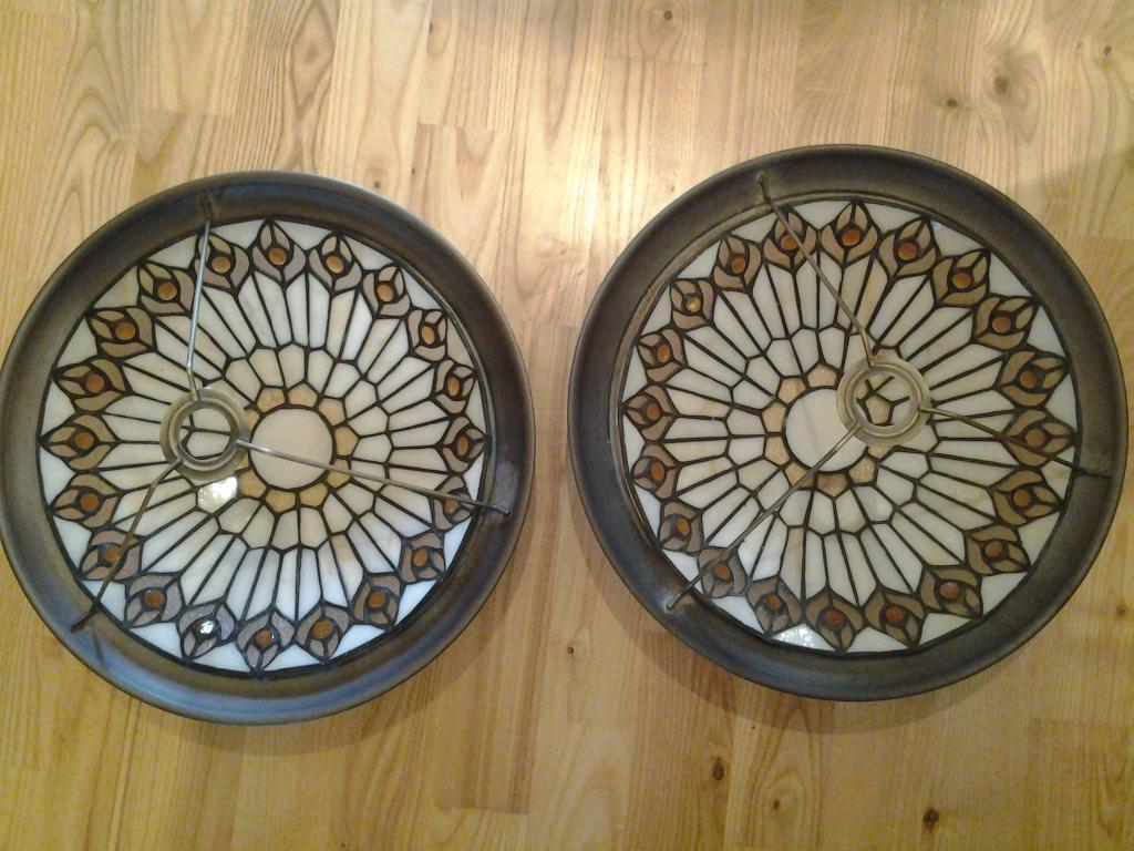 Two Tiffany style pendant lampshades