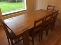 Solid oak Dining table, chairs and bench.