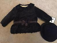 New Black velvet coat and matching hat 12M