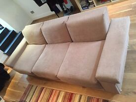 Modular three-seater sofa, cover in beige fabric. Super-simple self-assembly.