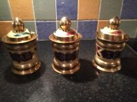 Vintage Brass Tea Coffee & Sugar Caddy Containers Cannisters Jar Jars Retro NEW Collectables