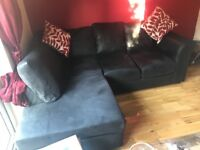 Small corner sofa black material