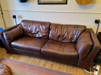 DFS Large Brown Leather Sofa