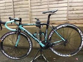 Bianchi Sempre Pro Full Carbon Road Bike with Mavic Cosmic carbon wheels.