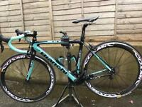 Bianchi Sempre Pro Full Carbon Road Bike with Mavic Cosmic carbon wheels.