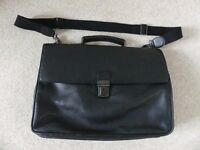 John Lewis black leather briefcase in VGC