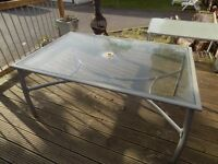 PATIO TABLE - 1.5M X1 M ALUMINIUM AND GLASS. COLLECTION ONLY.