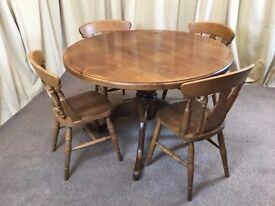 Pine Table & 4 Chairs - Round Farmhouse Kitchen Style