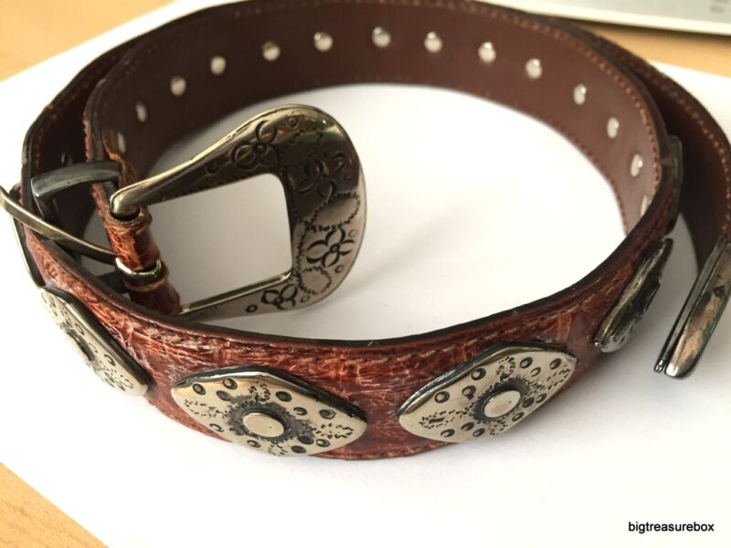 """34"""" Long Vtg Leather Belt MARKED ITALY with 925 STERLING SILVER Decorations lot"""