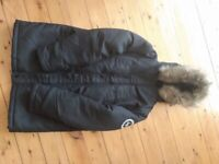 Hype boys black hooded coat. Age 11-12 years
