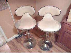 Cream / Chrome, Faux Leather, Adjustable, Gas Strut, Kitchen / Bar Stool / Chair