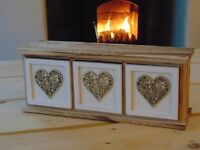 Triple or Single drawer Wooden Storage Chest with Hearts