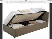 BRAND NEW IN BOX Single ottoman bed frame leather effect headboard and base