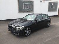 2012 BMW 116D 2.0 SPORT F20 5 DOOR HATCHBACK BLACK DAMAGED SALVAGE REPAIRABLE