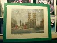 PAINTING OF LONDON, WESTMINSTER ABBEY AND BIG BEN (PRINT) IN CLEAR GLASS FRAME