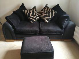 2/3 Seater Sofa & Footstool - Black