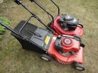 2 x petrol lawnmowers for spares or repair as per pictures