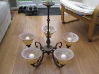 Antique brass/bronze 5 arm ceiling light with matching 2 arm wall light