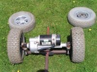 Electric bike push trailer/go kart abandoned project spares or repair Diplomat scooter.South Cave.