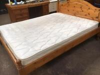 Nice solid pine double Bed complete with mattress