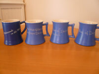 4 VINTAGE DEVONMOOR BLUE POTTERY MUGS/TANKARDS