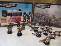Warhammer 40000, Opened and used, 12 Tyranid Termagant Brood with 5 other figures and used paints