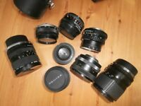 Collection of camera lenses, assortment