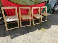 4 x folding light oak deck chairs. top quality chairs