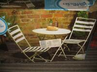 garden bistro folding steel table and chairs - cream