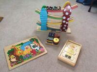 Wooden toy toddler bundle - jigsaw, racing cars, peg board