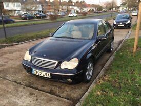 Mercedes C240, 2002 MOT till Dec2018, Cream/Mushroom Leather interior, full Vosa History, dark Blue,