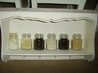 NEW BOXED WALL MOUNTED KITCHEN UNIT ,SHELF ,FOUR PEGS,ANTIQUE CREAM WITH BEIGE TOP,SHABBY CHIC