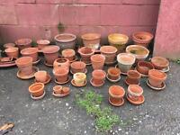 Terracotta pots and saucers